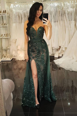 Sheath Sweetheart Dark Green Detachable Prom Dress with Appliques OKL77