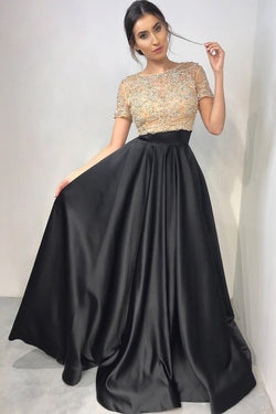 Two Piece Crew Short Sleeves Floor-Length Black Prom Dress with Beading OKL89