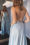 Light Blue Spaghetti Straps Long Simple Prom Dress With Pockets OKT44