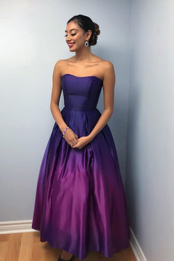 A-Line Sweetheart Ankle-Length Ombre Purple Satin Prom Dress with Pleats OKL90