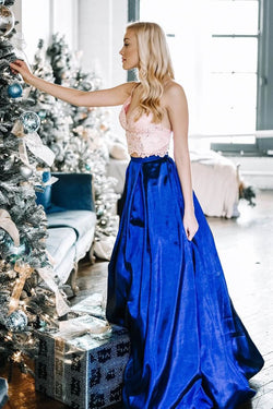 Two Piece Spaghetti Straps Floor-Length Royal Blue Prom Dress with Lace Bodice OKL92