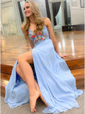 A-Line Spaghetti Straps Light Blue Chiffon Long Prom Dress with Embroidery Split OKQ92