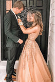 A-Line V-Neck Floor-Length Prom Dress with Appliques Beading OKQ88