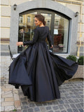 A-Line Round Neck Long Sleeves Black Long Prom Dress OKK61