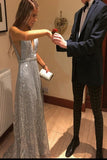 Popular V-Neck Long Silver Prom Dress with Beading Sequin Evening Dress OKS76
