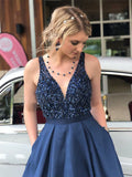 A Line Satin Beading V Neck Navy Blue Prom Dress With Pockets OKT45