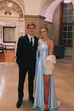 Light Blue Satin Split Long Simple Prom Dress Formal Party Dresses OKT46