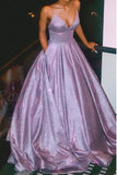 A-Line Spaghetti Straps Long Prom Dress Glitter Lilac Evening Dress OKQ89
