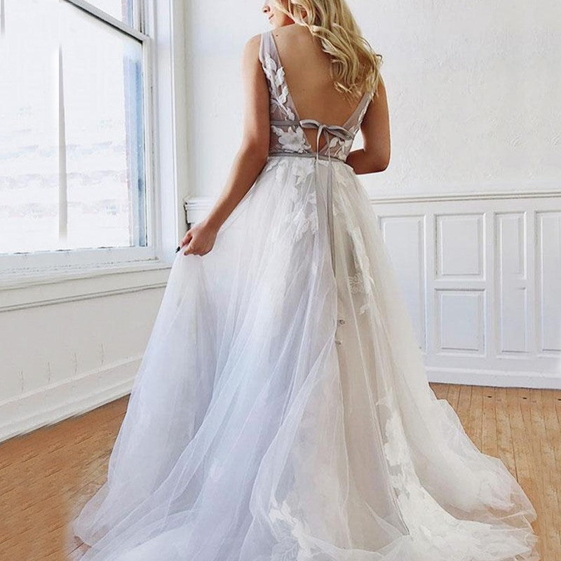 A Line Deep V-Neck Backless White Tulle Prom Dress With Appliques OKQ63