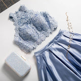 Two Piece A Line Jewel Light Sky Blue Floor Length Prom Dress With Lace Top OKQ55