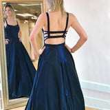 A Line Spaghetti Straps Sweep Train Drak Navy Prom Dress With Pocktes OKQ56
