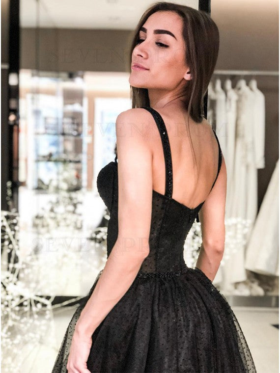 A-Line Spaghetti Straps Long Prom Dress Sleeveless Black Evening Dress OKS78