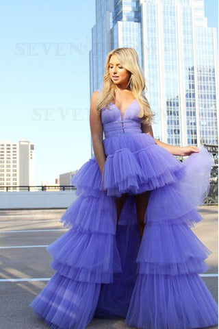 Lavender High Low Layers Tulle A Line Prom Dress with Beading OKS77
