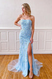 Sky Blue Mermaid Strapless Appliques Prom Dress Cheap Evening Dresses OKT48