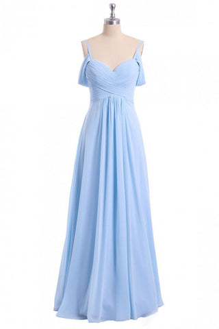 A-line Sky Blue Long Bridesmaid Dress, Off Shoulder Chiffon Long Prom Dress OKO81