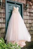 Sweetheart Strapless Flowers Beading Pleated Blush Pink Wedding Dress With Court Train OK554