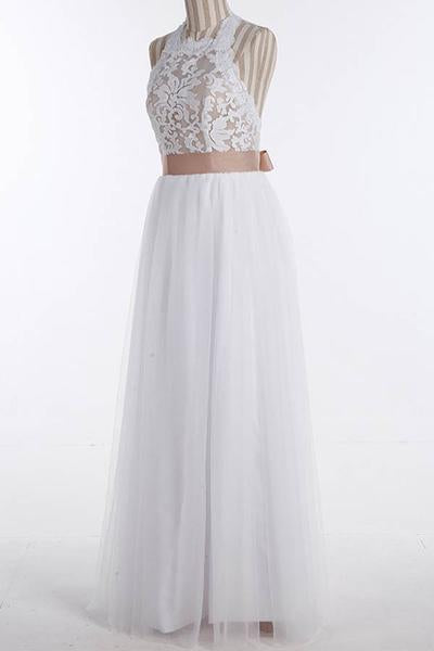 Simple Jewel Sleeveless Floor-Length Wedding Dresses,Lace Top White Wedding Gown OK537