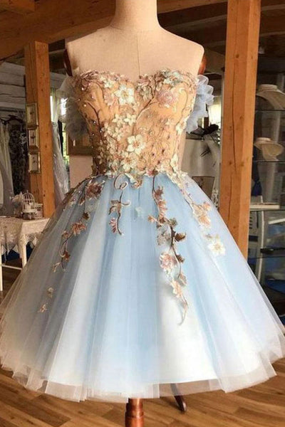 Gorgeous A Line Sweetheart Light Blue Tulle Short Homecoming Dresses OKM63