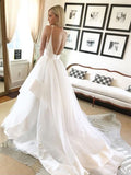 Beautiful Ball Gown V Neck Spaghetti Straps Backless Long Wedding Dresses with Train OKE23