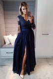 Burgundy Long Sleeves V Neck Lace Top A Line Long Prom Dresses OK838