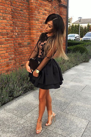 Charming A Line Long Sleeves Lace Black Short Homecoming Dresses OKM60