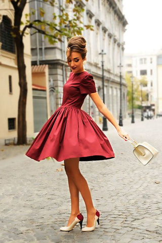 Cute A Line Short Sleeves Burgudny Homecoming Dresses, Elegant Evening Dresses OKM59