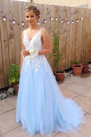 Gorgeous A Line V Neck Backless Sky Blue Tulle Long Prom Dresses OKF27
