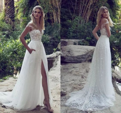 Lace Boho Off the shoulder Cap Sleeves Long Country Slit Wedding ...