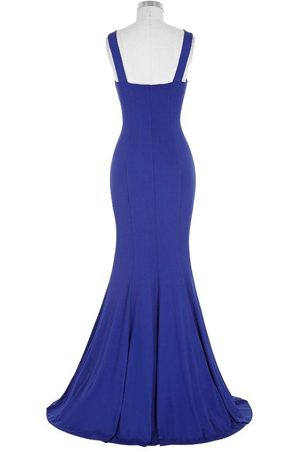 Royal Blue Open Back Long Mermaid Beaded Sexy Prom Dresses K739