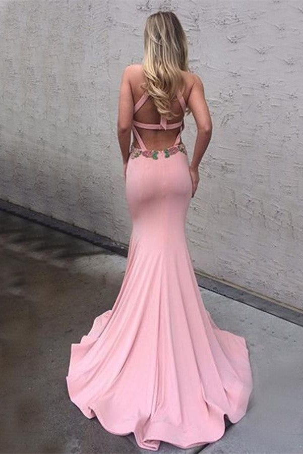 Sexy Mermaid Backless Pink Long Charming Cheap Modest Prom Dresses K759
