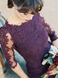 Gorgeous Half Sleeves Mermaid Long Purple Lace Open Back Bridesmaid Dress OK504