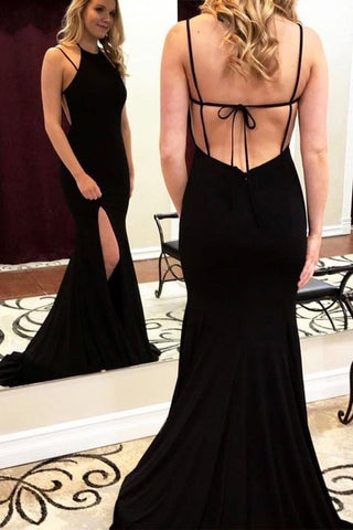 Charming Mermaid Halter Cross Back Split Black Long Prom Dresses OKF10