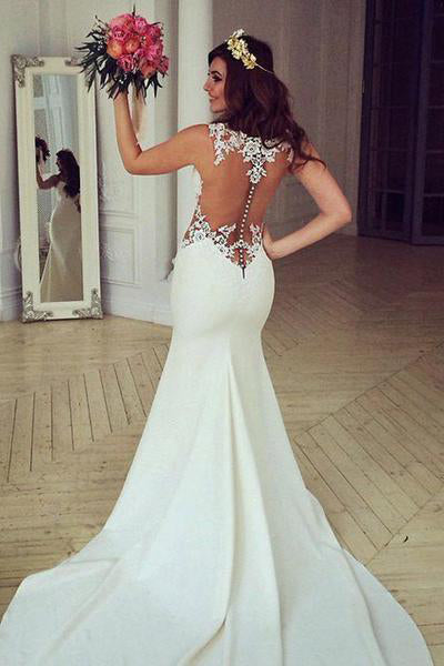 Stunning Mermaid Sleeveless Lace Chapel Train Wedding Dress With Appliques OK546