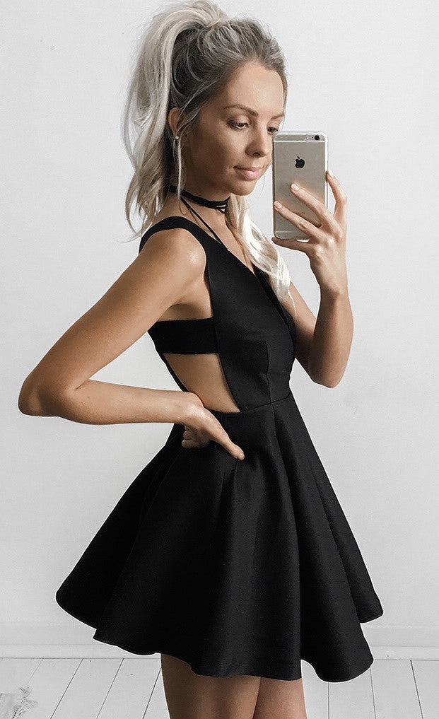 Sexy Black Deep V-neck 2017 Mini Sleeveless Homecoming Dresses,Cocktail Dress OK452