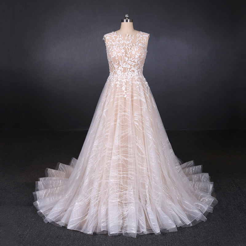 A Line Lace Sleeveless Elegant Wedding Dress, Backless Long Bridal Dresses OKQ27