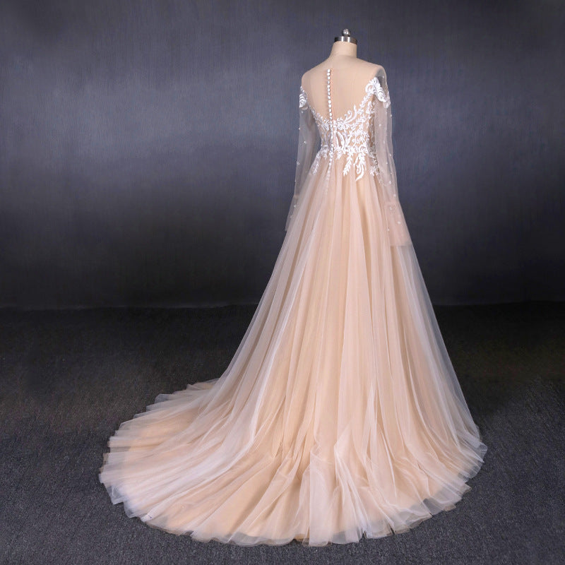 Charming A Line Long Sleeves Lace Appliques Tulle Wedding Dress OKQ30