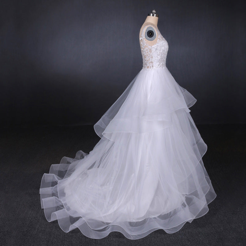 A Line V Neck Layered Backless Wedding Dress, Long Bridal Gown OKQ23