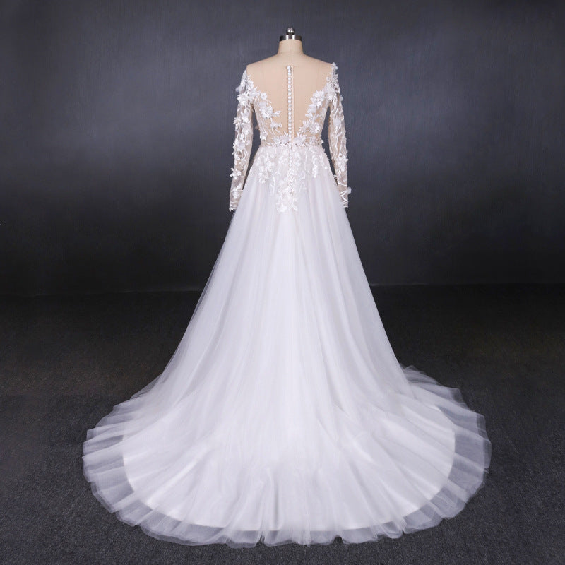 A Line Tulle Lace Appliques Long Sleeves Wedding Dress, Cheap Bridal Dresses OKQ28