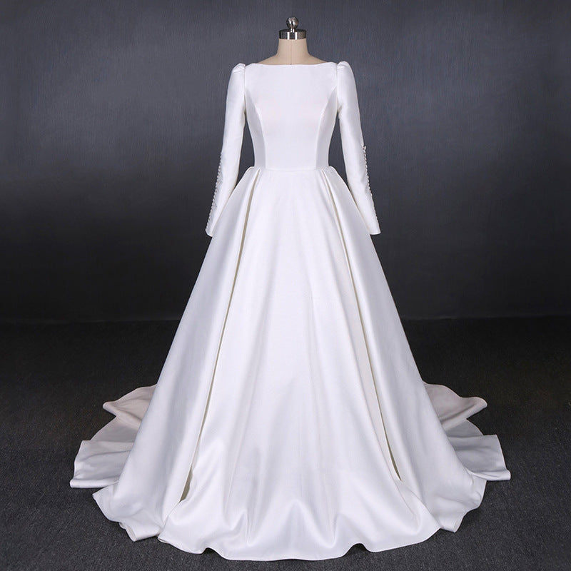 Simple A Line Long Sleeves Satin Wedding Dress, New Arrival White Long Bridal Gown OKQ13