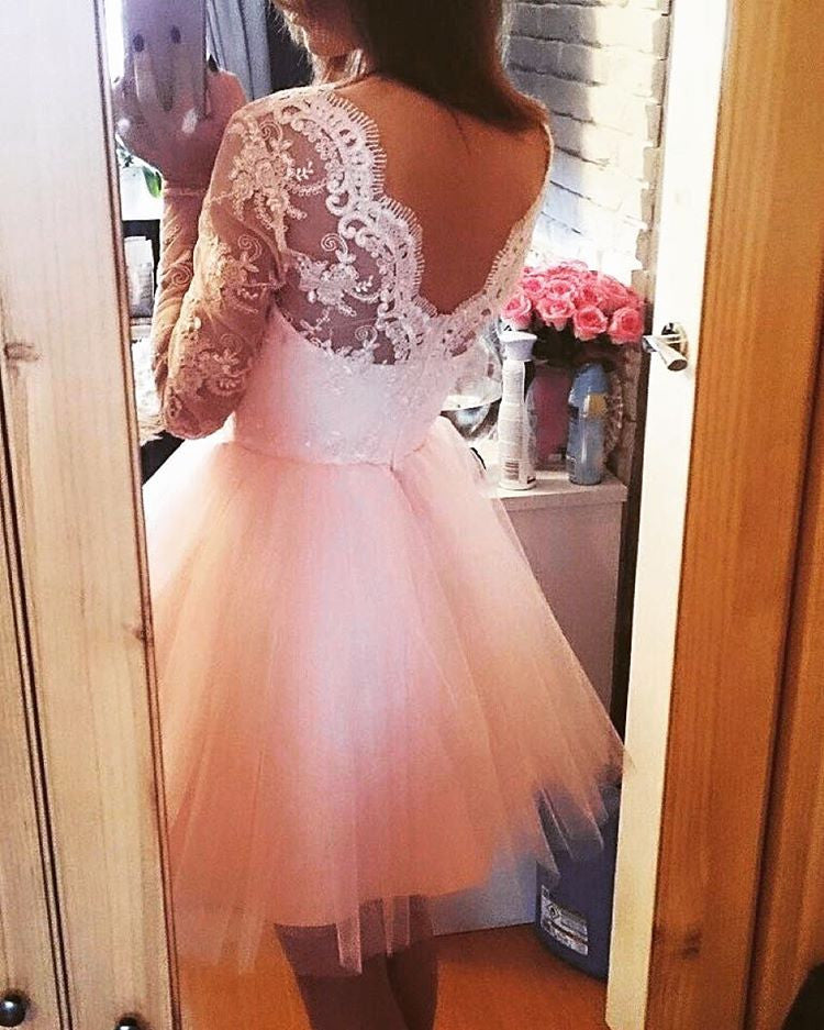 Pink Long Sleeves Lace Tulle Short Backless Homecoming Dress,Graduation Dresses OK334