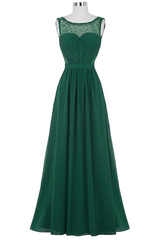 Chiffon Beaded Green V-back Long Formal Mother Of Bridal Dresses K748