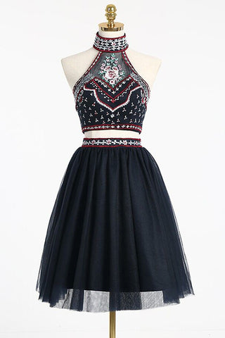 High Neck Homecoming Dress,Beading Homecoming Dresses,Two Pieces Homecoming Dress,Short Homecoming Dress,Backless Homecoming Dresses,2 Pieces Prom Dresses,Cocktail Dresses