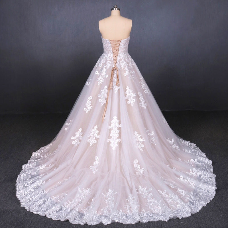A Line Strapless Lace Appliques Wedding Dress, Cheap Bridal Dresses OKQ16