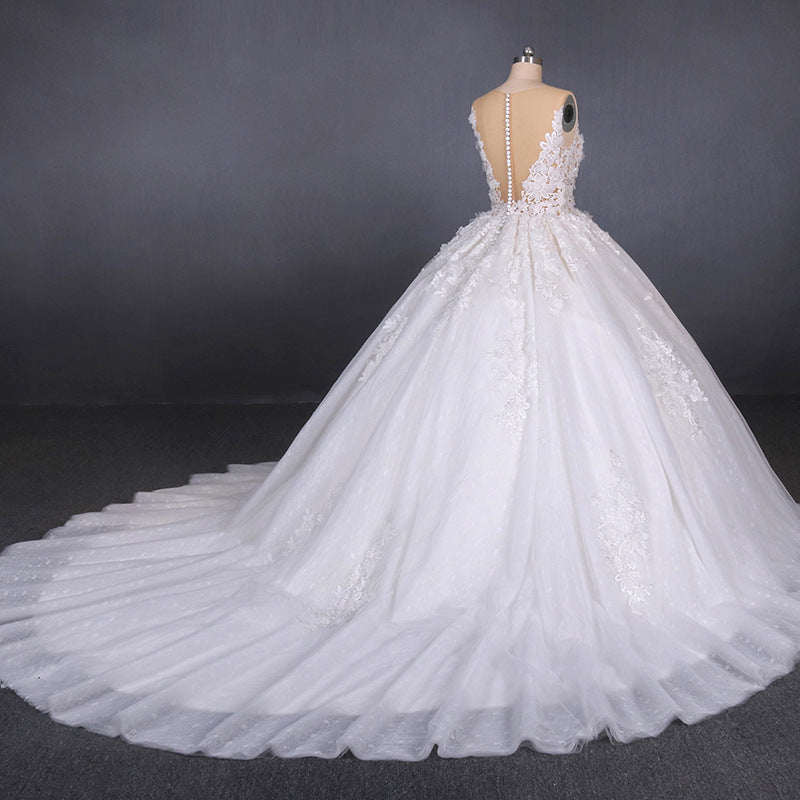 White Appliques Tulle Ball Gown Princess Wedding Dress, Bridal Gown OKQ31