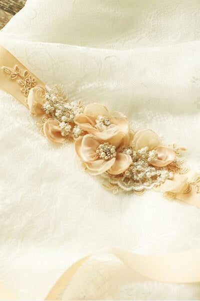 Cute Nude Blush Bridal Sash Floral Lace Rustic Wedding Belt BS16