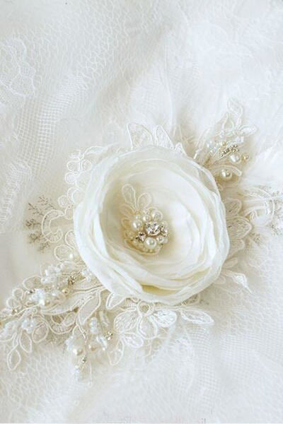 Ivory Floral Bridal Belt Applique Lace Applique Sash Beaded Pearls BS11