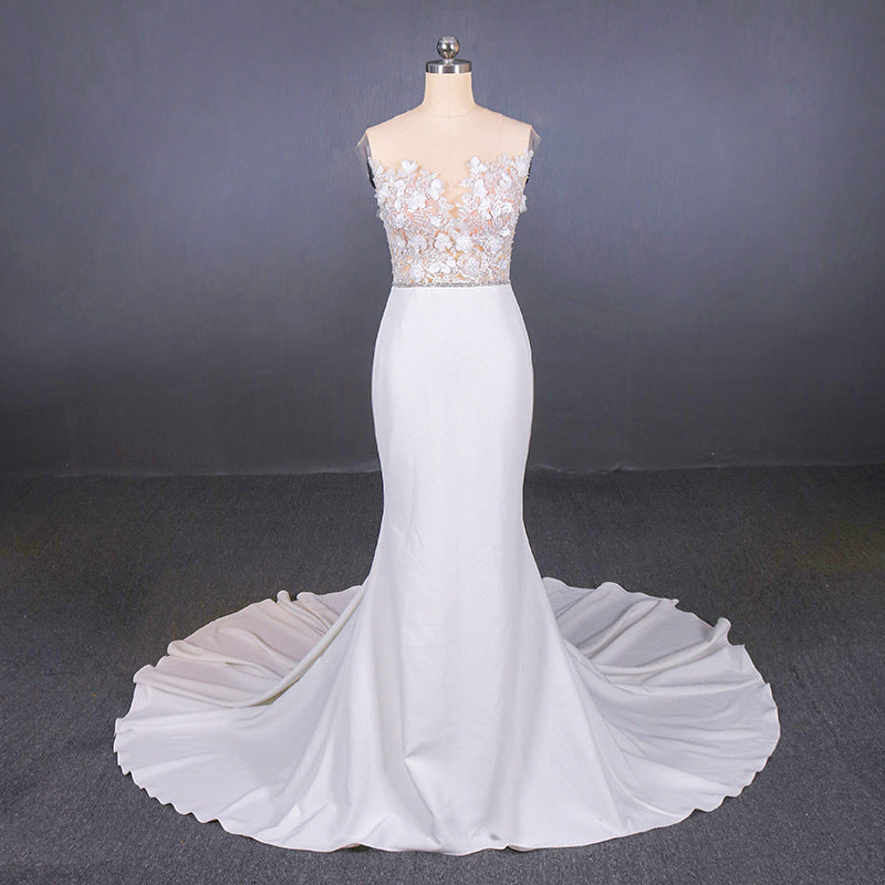 Mermaid Appliques Long Stunning Wedding Dress, Long Bridal Dresses OKQ19