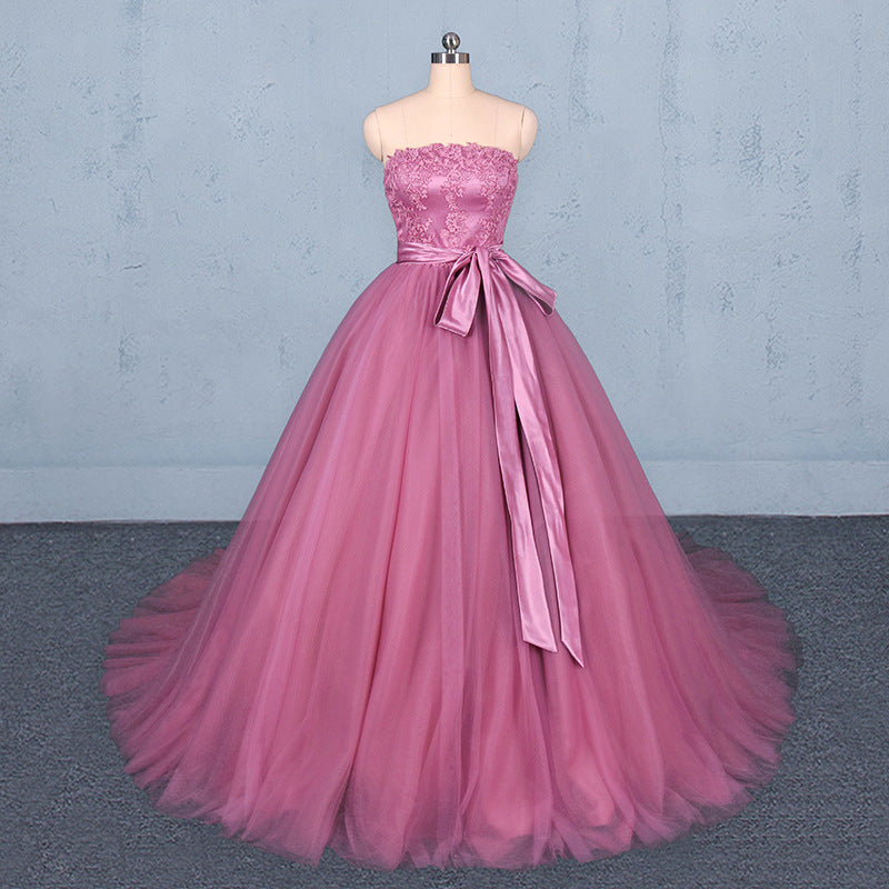Strapless A Line Tulle Lace Appliques Prom Dresses, Long Formal Dress OKQ22