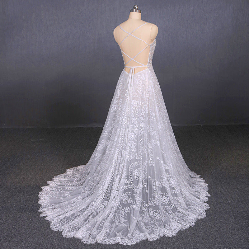 A Line Spaghetti Straps Long Elegant Wedding Dresses With Lace OKQ11