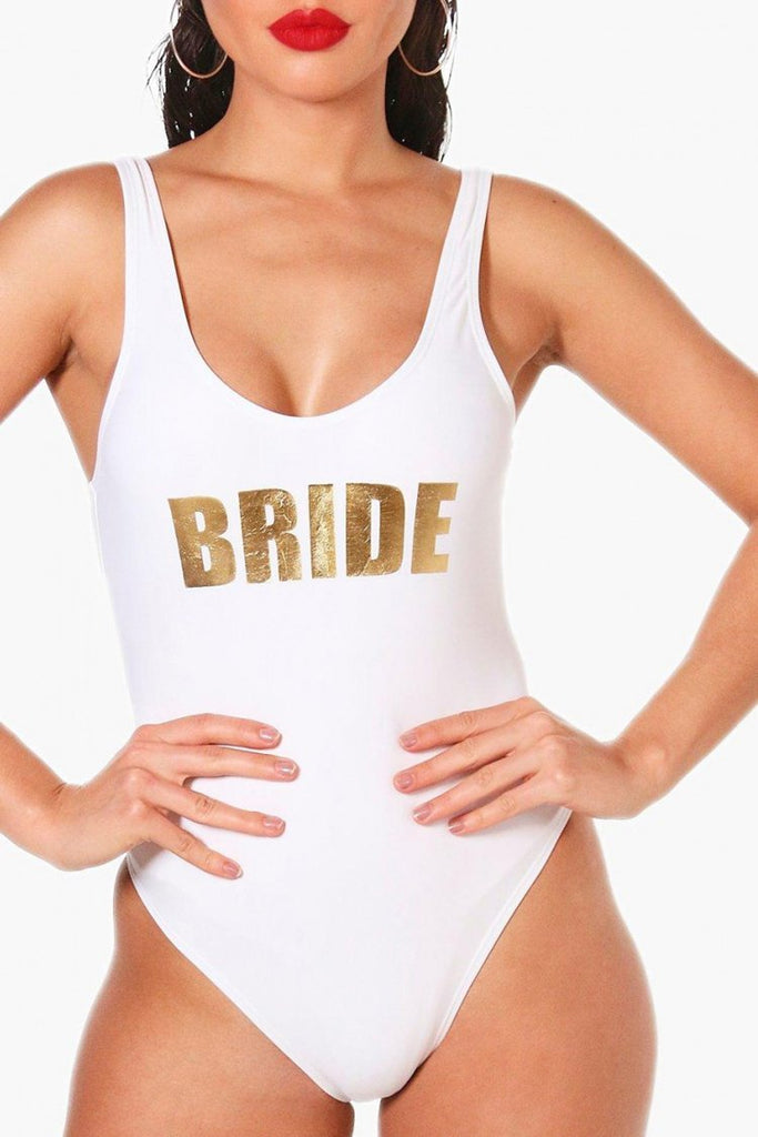 White Slogan One Piece Swimsuit SO029